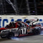 Timothy Peters crashes his Toyota during Friday's NASCAR Camping World Truck Series race at Chicagoland Speedway. (NASCAR Photo)