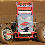 Nic Faas stands on the gas en route to winning Saturday's AMSOIL USAC-CRA Sprint Car Series feature at Perris (Calif.) Auto Speedway. (Doug Allen photo)