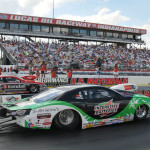 Mike Edwards (near lane) lines up against V. Gaines in the NHRA Pro Stock finals during the Chevrolet Performance U.S. Nationals on Monday. (Ginny Heithaus Photo)
