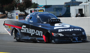 Cruz Pedregon set the fastest qualifying time in the NHRA Funny Car class at zMAX Dragway. (Rhonda Hogue McCole Photo)
