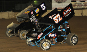 Byron Reed (5) and Andrew Palker battle for position during Friday's UNOH All Star Circuit of Champions feature at Fremont (Ohio) Speedway. (Julia Johnson Photo)