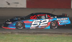 Ricky Baker won Sunday's Lee Schuler Memorial at Grundy County Speedway.