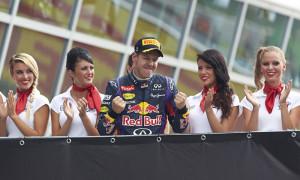 Sebastian Vettel, shown celebrating after winning the Italian Grand Prix, won the pole for the Singapore Grand Prix. (Steve Etherington Photo)