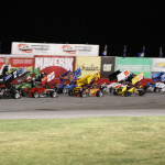 The field for the Salt City 200 sprint car race rolls to the green flag at Rocky Mountain Raceways in Utah. (Rocky Mountain Raceways photo)