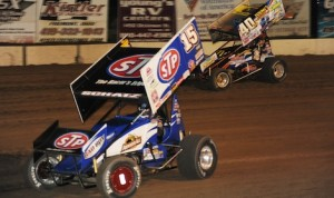 Donny Schatz (15) held off Caleb Griffith to win Saturday night's World of Outlaws STP Sprint Car Series feature at Fremont (Ohio) Speedway. (Julia Johnson photo)