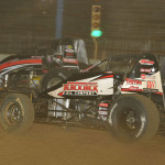 Kevin Thomas Jr. works to the inside of Kyle Cummins during Saturday's AMSOIL USAC National Sprint Car Series race at the Terre Haute (Ind.) Action Track. (Dave Heithaus Photo)