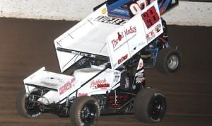 Tony Bruce Jr. (18) won Friday night's Lucas Oil ASCS Sprint Car Series race at Lucas Oil Speedway. (Ken Simon photo)