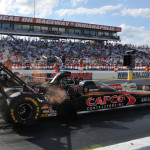 Steve Torrence (near lane) lines up against Shawn Langdon in the finals of the NHRA Top Fuel class on Monday during the Chevrolet Performance U.S. Nationals. (Ginny Heithaus Photo)