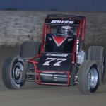 Chris Urish (77) won 2013 running of the Ted Horn 100 USAC Silver Crown Series race at the DuQuoin State Fairgrounds. (Tom Ortman photo)