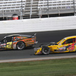 Todd Szegedy (2) battles Donny Lia during Saturday's NASCAR Whelen Modified Tour race at New Hampshire Motor Speedway. (Dick Ayers Photo)
