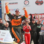 Todd Szegedy, pictured after winning a 2013 NASCAR Whelen Modified Tour race at New Hampshire Motor Speedway, returns to the track to race this weekend. (Dick Ayers Photo)