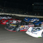 The World 100 field lines up four wide prior to Saturday's event at Eldora Speedway. (Mike Ruefer Photo)