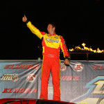 Tim McCreadie celebrates after winning his World 100 preliminary Friday at Eldora Speedway. (Mike Ruefer Photo)