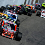Ryan Preece leads the field during Saturday's NASCAR Whelen Modified tour race at New Hampshire Motor Speedway. (NASCAR Photo)