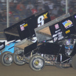 Byron Reed (5) and Rob Chaney during Saturday's UNOH All Star Circuit of Champions feature at Attica (Ohio) Raceway Park. (Action Photo)