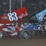 Tim Shaffer (83) leads Dale Blaney during Saturday's UNOH All Star Circuit of Champions event at Attica (Ohio) Raceway Park. (Action Photo)