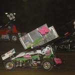 Bret Tripplett (22), Kroey Weyant (99) and Jake Blackhurst battle during Saturday's Midwest Open Wheel Ass'n race at Spoon River Speedway. (Mark Funderburk Photo)