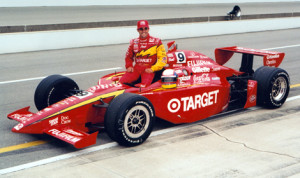 Juan Pablo Montoya poses with his Indianapolis 500 winning car in 2000. (IMS Photo)
