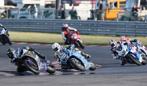Josh Herrin (2) won Saturday's AMA Pro Road Racing SuperBike event at New Jersey Motorsports Park. (AMA photo)