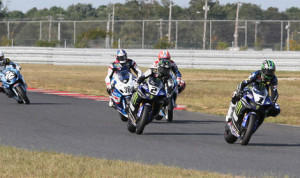 Josh Hayes (1) leads the way during Sunday's AMA Superbike event at New Jersey Motorsports Park. (Brian J. Nelson Photo)