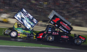 Brian Gingras (1) and Troy DeCaire during the 2013 USCS event at Atlanta Motor Speedway. (Chris Seelman Photo)