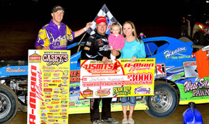Jason Hughes won Sunday's United States Modified Touring Series event at Cresco Speedway in Iowa. (Buck Monson Photo)