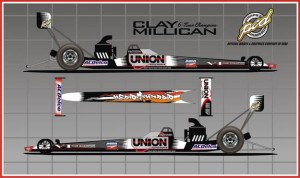 Clay Millican's Top Fuel dragster for his return to IHRA competition.