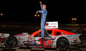 Ryan Preece celebrates after winning Saturday's NASCAR Whelen Modified Tour feature at Riverhead (N.Y.) Speedway. (NASCAR Photo)