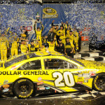 Matt Kenseth celebrates in victory lane after winning Sunday's NASCAR Sprint Cup Series race at Chicagoland Speedway. (Bradley Rahm Photo)