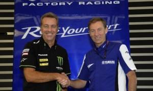 Tech2's Herve Poncharal  (left) and Yamaha's Lin Jarvis