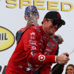 Scott Dixon celebrates his victory in Saturday's IZOD IndyCar Series race in Houston, Texas. (IndyCar Photo)