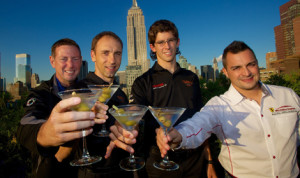 2013 Grand-Am Rolex Sports Car Series class champions (left to right) Jim Norman (GX), Max Angelelli (DP), Jordan Taylor (DP) and Alessandro Balzan (GT) toast their championships on Sunday afternoon in New York City. The Rolex Champions Awards was held Monday night at Manhattan's Gotham Hall. (Brian Cleary/Grand-Am Photo)