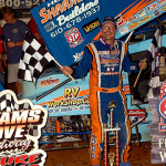 Don Kreitz Jr. celebrates in victory lane after winning Friday's World of Outlaws STP Sprint Car Series feature at Williams Grove Speedway. (Hein Brothers Photo)