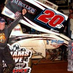 Fred Rahmer celebrates after winning the National Open Saturday at Williams Grove Speedway. (Hein Brothers Photo)