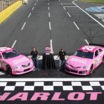 Brian Vickers (left) and Matt Kenseth (right) each drove pink Dollar General cars during the NASCAR events at Charlotte Motor Speedway last weekend. (Jonathan Coleman/CMS Photo)