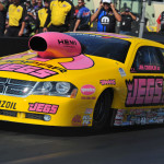 Jeg Coughlin Jr. put his uniquely pink NHRA Pro Stock ride in victory lane at Maple Grove Raceway. (Rhonda Hogue McCole Photo)