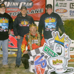 Billy Decker in victory lane with his crew after the King of the Can on Friday at Penn-Can Speedway.