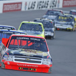 Ty Dillon (3) leads a pack during Saturday's NASCAR Camping World Truck Series race at Las Vegas Motor Speedway. (HHP/Gregg Ellman Photo)