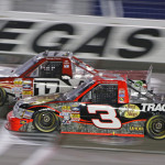 Ty Dillon (3) battles Timothy Peters during Saturday's NASCAR Camping World Truck Series race at Las Vegas Motor Speedway. (HHP/Gregg Ellman Photo)