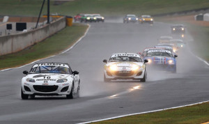 John Dean leads the SCCA Pro Racing Playboy Mazda MX-5 Cup field during Thursday's race at Road Atlanta. (Alison Merion Padron Photo)