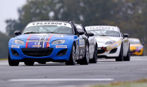Elliott Skeer leads the pack en route to winning round 12 of the SCCA Pro Racing Playboy Mazda MX-5 Cup at Road Atlanta on Friday. (Alison Merion Padron Photo)