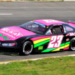 Sarah MacKay raced this pink late model recently at Petty Raceway in New Brunswick, Canada. (Ken MacIsaac Photo)