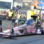 Defending NHRA Top Fuel champion Antron Brown's Matco Tools dragster carried this nifty pink scheme recently at Maple Grove Raceway. (Rhonda Hogue McCole Photo)