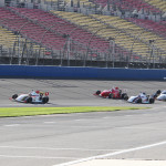 The Firestone Indy Lights field on track during Saturday's season finale at California's Auto Club Speedway. (IndyCar Photo)