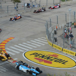 Simon Pagenaud leads the IZOD IndyCar Series field through a turn during the Grand Prix of Houston on Saturday. (IndyCar Photo)