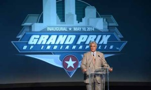 Hulman & Company Chief Executive Officer Mark D. Miles announces the details of the inaugural Grand Prix of Indianapolis on Tuesday. (IMS Photo)