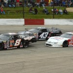 Jacob Goede (8), Matt Kocourek (43) and Ross Kenseth during Sunday's ARCA Midwest Tour race at the LaCrosse Fairgrounds Speedway. (Doug Hornickel Photo)