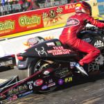 Matt Smith drove to victory in the NHRA Pro Stock Motorcycle class on Sunday at Gateway Motorsports Park. (NHRA Photo)