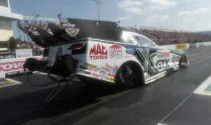 John Force held on to the No. 1 spot in the NHRA Funny Car ranks Saturday at Maple Grove Raceway. (NHRA Phoot)