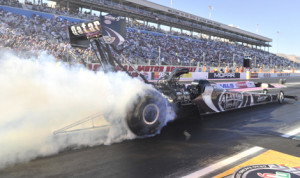 Shawn Langdon topped the NHRA Top Fuel class in the opening day of qualifying in Las Vegas on Friday. (NHRA Photo)